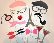 Paris Photo Booth Props, Paris Baby Shower, Chanel Party, Parisian Wedding, Set of 17