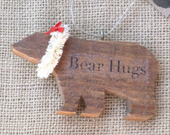 Wood Bear Ornament, Wooden Ornament, Bear Ornament, Holiday Bear, Christmas Bear, Wood Animal Ornament, Rustic Bear, Lodge Decor, Cabin Deco