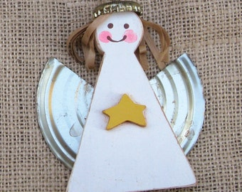 Wooden Angel, Wooden Ornament, Holiday Ornament, Yellow Star Angel, Wood Angel Ornament, Christmas Angel Ornament, White Angel, Rustic Angel