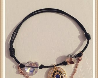 Evl eye,Hazar,Cord, Bracelet, Heart, Swarovski, crystal, women gift,Black cord,