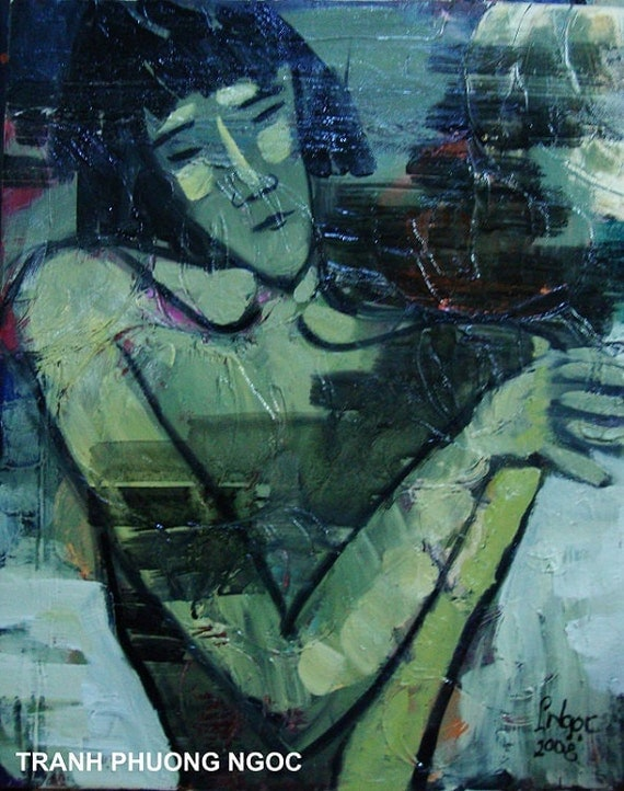 """FEELINGS #1 - 19x23"""" framed oil on canvas, nude art, wall decor, original painting by Nguyen Ly Phuong Ngoc"""