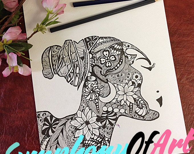 Adult Coloring Page, PDF Zentangle Coloring Page, Line art, African girl, Printable Coloring Page, Download