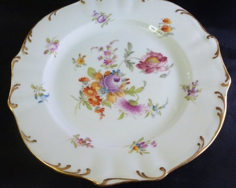 """Set of 6 Dresden Handpainted Floral Design China Plates, 7 1/2"""""""