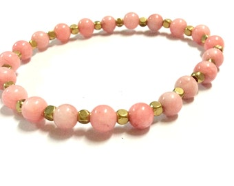 Genuine Morganite with Raw Brass Cube Yoga Mala Bracelet - Natural Spirited Stones Bracelet - Healing Bracelet - Stretch Bracelet