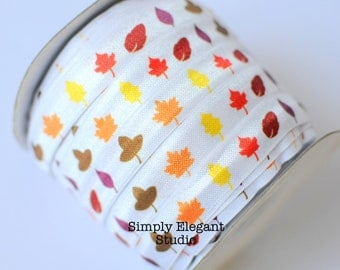 "Autumn Leaf Print Fold Over Elastic, 5/8"" Elastic, Headband and Hair Tie Supply, Elastic by the Yard"