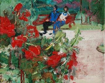 Original painting, garden painting, oil painting ok garden, garden flowers, public garden