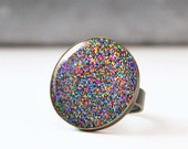 Large cocktail ring,  Glitter ring, Adjustable glass dome statement ring, Bohemian jewelry, Gift for Women Girlfriend Wife Mom Sister
