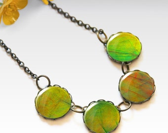 Green necklace, Bridesmaid gift, Glass dome necklace, Boho jewelry for women, Chunky bib necklace, Gift idea, 5090-2