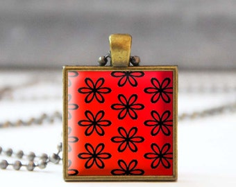 Red floral necklace, Flower Photo charm necklace, Square Glass dome jewelry, Wearable art, 5054-2