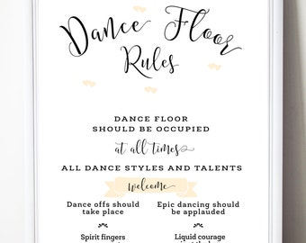 DANCE FLOOR RULES Printable Wedding Poster, Wedding Game, Wedding Signs, Wedding Stationery, Custom Made, New by Paradise Invitations