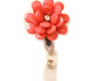 Beaded Camellia (Salmon) Retractable ID Badge Holder - Flower Badge Holder-Flower Badge Reel-Flower-Camellia-Badge Holder-Nurse Badge