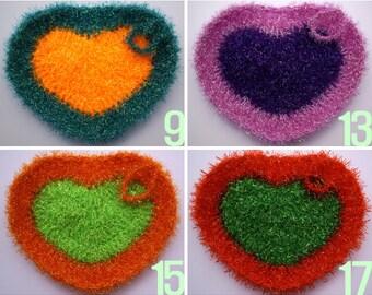Buy 5 Get 1 Free / Crochet Heart Shape Dish Scrubbies / Heart Shape Susemi / Dish Scrubbies / Scrubber