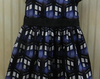 Girls Dr Who Tardis Dress size 3....handmade