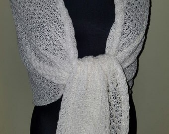 Linen knitted cream shawl
