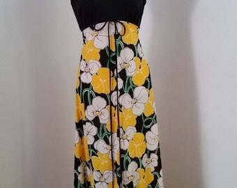 True Vintage 1970's Herbert Lawrence Maxi Dress, Women's Size Small.  Black Halter and Floral--Headturner!
