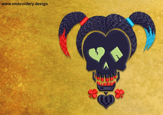 Harley Quinn Embroidery Design Downloadable 3 Sizes