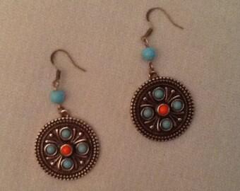 Bronze Medalion Earings