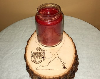 Custom Wood Burned Candle Base