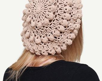 Crochet beret, Women's lace beret, Beige Crochet beret, Womens boho beret, Spring beret, Autumn Fall beret, Franch beret, Cotton beret hat