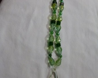 Green Glass Flower necklace