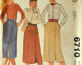 Uncut 1970s McCall's Vintage Sewing Pattern 6710, Size 14; Misses' and Young Junior/Teen Set of Skirts