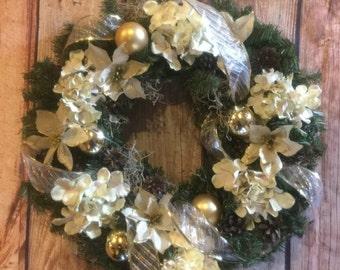 Christmas wreath, pine wreath, christmas decor