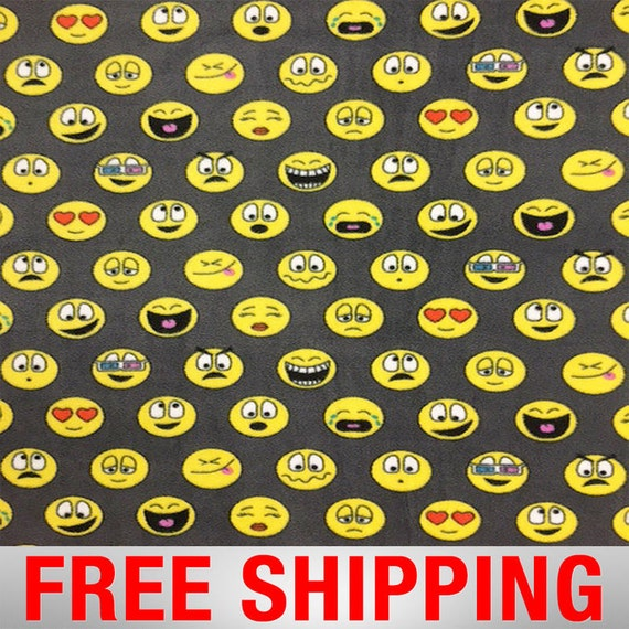 Fleece fabric emoticons emoji 60 wide free shipping for Emoji fabric