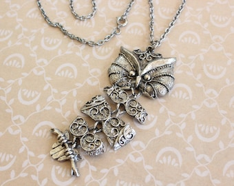 Vintage Articulated Owl Pendant Necklace with Chain Silver Tone