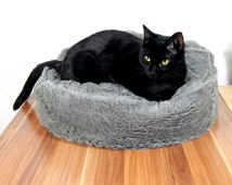 Cat bean bag bed fluffy grey synthetic fur bed for your cat royal bed for your pets gift filled with bean filling with non slip material
