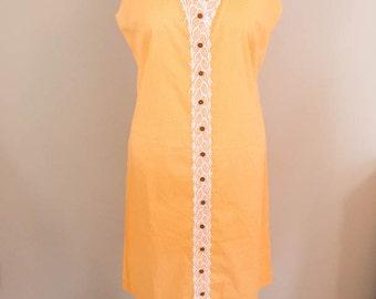 Plus Size Vintage Day Dress - XL/1X - Orange Dress - Plus Size Dress - Sleeveless Dress - Casual Dress - 60s Dress - House Dress - 1960s