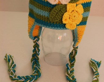 Crochet Baby Hats, Flower Crochet Hat, Baby Girl Hat, Photo Prop