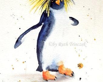 Original paintings - Watercolour - Penguin - 30 x 40 cm