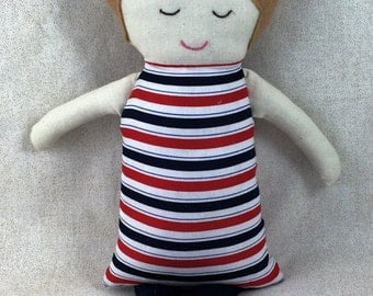 Striped Dress Baby doll Red, White & Navy Rag Doll