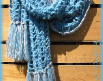 Big shawl knitted turquoise mohair hand crochet with fringe