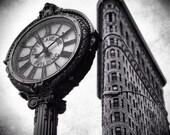 Flatiron Building, NYC photo, New York photography, black and white, street photography, clock, Flatiron
