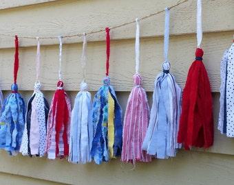 Tassel Garland Fabric Tassel Banner 6-Foot Indoor/Outdoor July 4th Decor Patriotic Decor