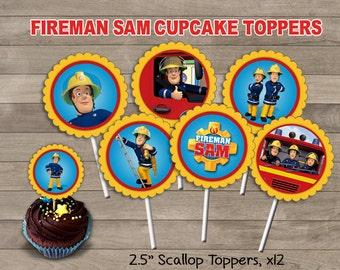 Fireman Sam Cupcake Toppers, Fireman Sam Party, Fireman Sam Printable Toppers