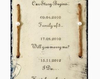 Unique Personalised Wedding Gift Plaque / Clock Slate Keepsake Marriage Present