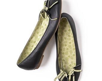 SALE, Black shoes, Black flats, Black leather shoes, Women's Shoes, Ballet flats,  Black ballerinas, Handmade shoes by LoulouBallerina