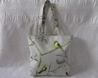 Handmade Tote Bag Reusable Eco Shopping Bag Cotton Bird Print Fabric Lime Green Grey