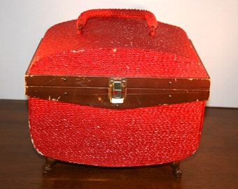 1950s Sewing Basket Made Exclusively By Singer//Sewing Basket Made By Singer//Vintage Sewing Basket