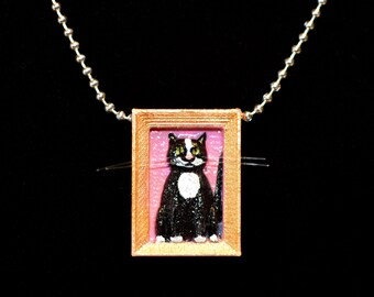 Tuxedo Cat Necklace, Cat Necklace, Black Cat Necklace, Black and White Cat necklace
