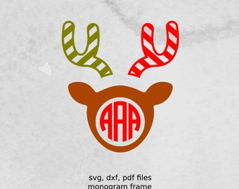 Reindeer Monogram Frame, Christmas SVG file, dxf,  vectors for cutting machines,  Christmas cutting file, svg files for silhouette, cricut