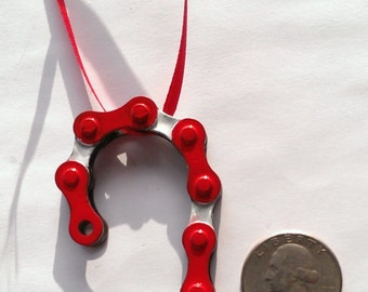 Bicycle Ornament. Candy Cane. Hade Made From Recycled Bicycle Chain. Free Shipping!!