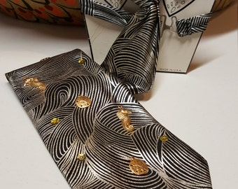 Deadstock Vintage 80s Ladies Tie Black Silver Gold 1980s ~~ Retro, Kitsch, Breakfast Club, Tacky, Seahorses, Sand Dollar, Sequins