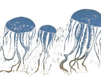 IMAGE BLUE JELLYFISH. Linocut - pressure