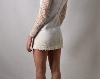 Lacey Mod Upcylced Vintage Wedding Minidress