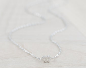 Silver initial necklace - Bridesmaid Proposal - Bridesmaid Letter Necklace