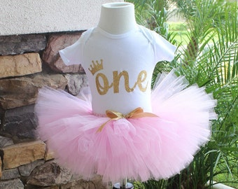 First Birthday Tutu Set, Pink and Gold Tutu, Pink Tutu, 1st Birthday Shirt, One Gold Glitter, One with Crown, Personalized Birthday Shirt