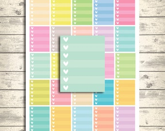 Ombre Heart Checklist, Erin Condren Printable Planner Stickers, Spring Pastel Full Box mixed colors, PDF +Jpeg